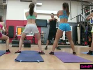Hot Ass Besties Get Their Twats Pounded By Gym Trainer