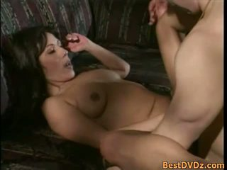 Sexy brunette milf gets nailed on sofa