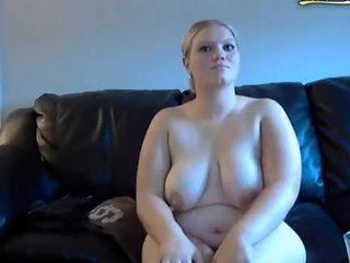שמנמן אישה gets spanked ו - masturbates ב מצלמת אינטרנט