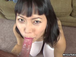 Sucking on the Cock and the Dude Adores Her Blowjob.