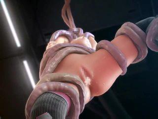 3d animated ruimte meisje geneukt door tentacles