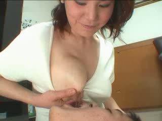 veľké prsia, japonsko, zrelý, mamička