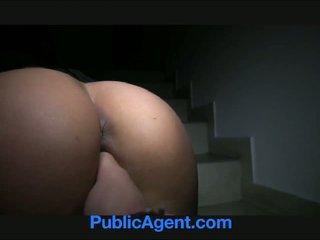 PublicAgent Sexy blonde with firm ass swallows cum