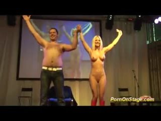 crazy nfcm show on public stage with sexy blonde babe