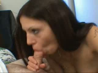 Hot brunette enjoy blows a cock