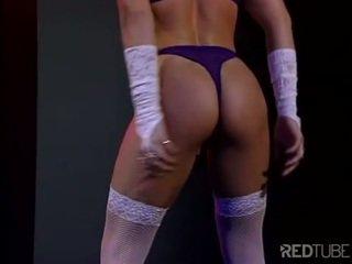 Hot busty Asian chick striptease