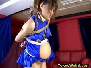 Asian pregnant woman bondage milked