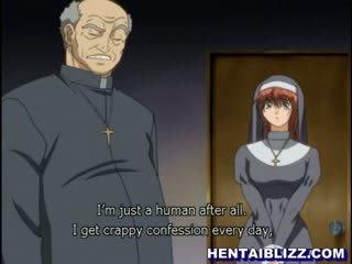 Hentai mníška gets fucked podľa perverzné priest