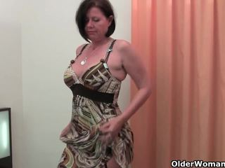 Well rounded milf is toying her mature and hairy pussy