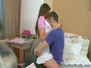 Hot chick Nastya separates her slim legs.
