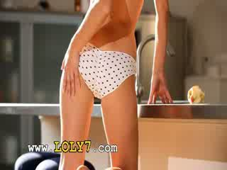 chick wow beauty masturbate in a kitchen