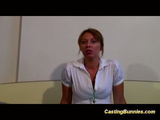 Casting hot bunny taking cock and sucking