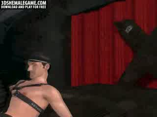 Sexy 3D cartoon shemale hottie gets double temaed