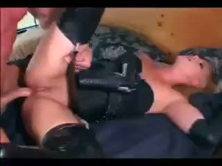 Blonde female cop hard fuck and facial