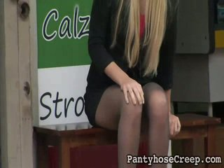 Sneaky Vid Shoot Onto Tall Blonde In Nylons