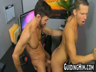 Guys get horny and fuck in an office