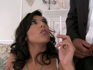 Hot smoking slut and big black penis.