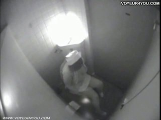 Toilet masturbation secretly captured door spycam