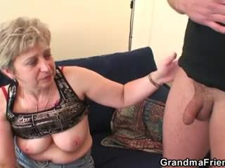 Bestemor takes two cocks etter masturbation