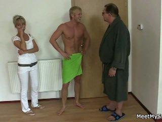 Blonde fucks boyfriend's parents