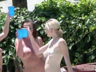 Three hot girls and one guy have sex orgy in pool