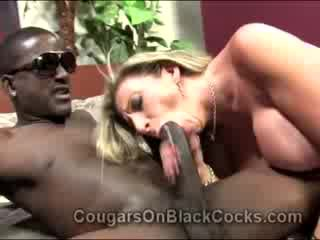 Lustful blondie mature Hooker Sara Jay gets fucked by big ebony man