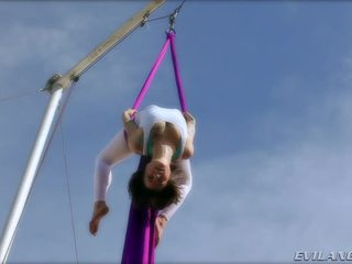 Belladonna Keeps Herself In Shape Doing Aerial Silk Routines