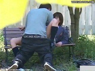 Nadržané japonské pár sex v park.