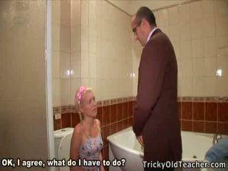 Aged Pervert Drooling All Over The Fresh Little Slip Of The Girl.