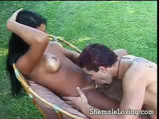 Stunning tgirl and white guy fucking each others tight asses out doors