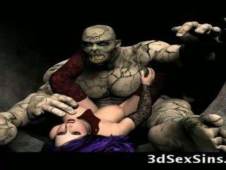 Scary ogres bang tatlong-dimensiyonal girls!