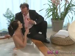 Love Creampie Busty mom gets cum inside after sexy romantic hot tub romp