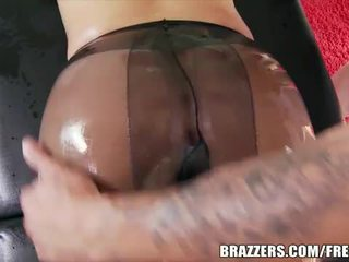 Blonde bombshell oiled and ass fucked