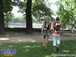 A blondie foxy lady sets the pace and fucks with a stranger