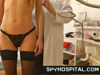 Sporty blonde medical exam on hidden cam