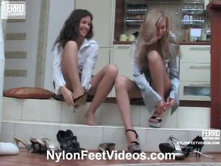 FRANCES And Stephanie Horny Pantyhose Feet Movie