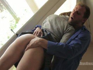Schoolgirl on her knees