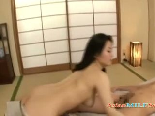 Cute Asian MILF with a booty gives great head