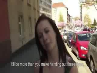 Hot czech chick flashes her Juggs on street
