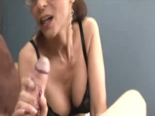 Big titted with glasses jerking a dong