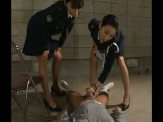 Slutty police sluts give their suspect a hand job as punishment