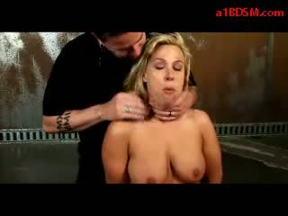 Blonde Girl With Tied Legs Stiffled Pussy Stimulated With Vibrator By Master In The Dungeon