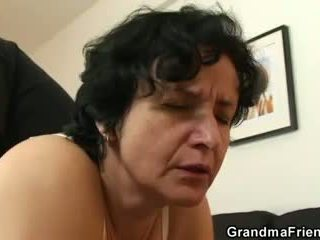 She gets her old saçly hole filled with two cocks