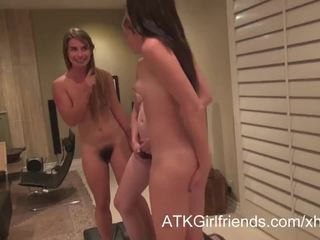 A virtual date with young girls with hairy pussies in POV
