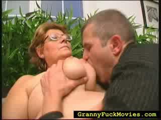 Big fat granny banging fresh babe guy