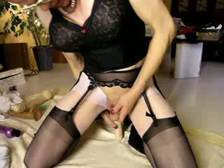cumming over black stockings