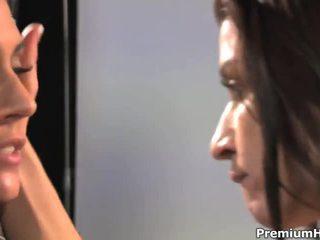 brunette klem, groot japanse, kut likken mov