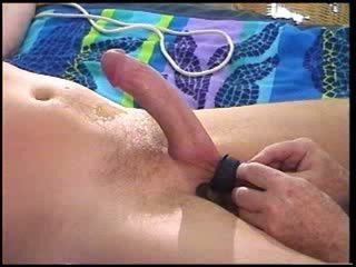 CBT Precumming while squeezing balls of extra hung dude.