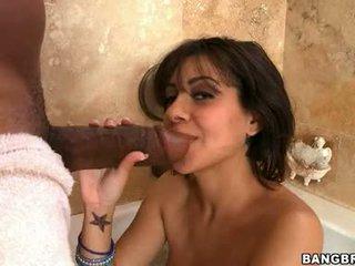 Knob Freak Vanessa Leon Receives Her Throat Entered By A Gigantick Dark Noodle