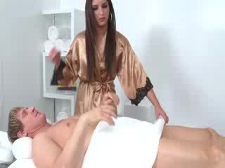 brunette, sucking, masseuse